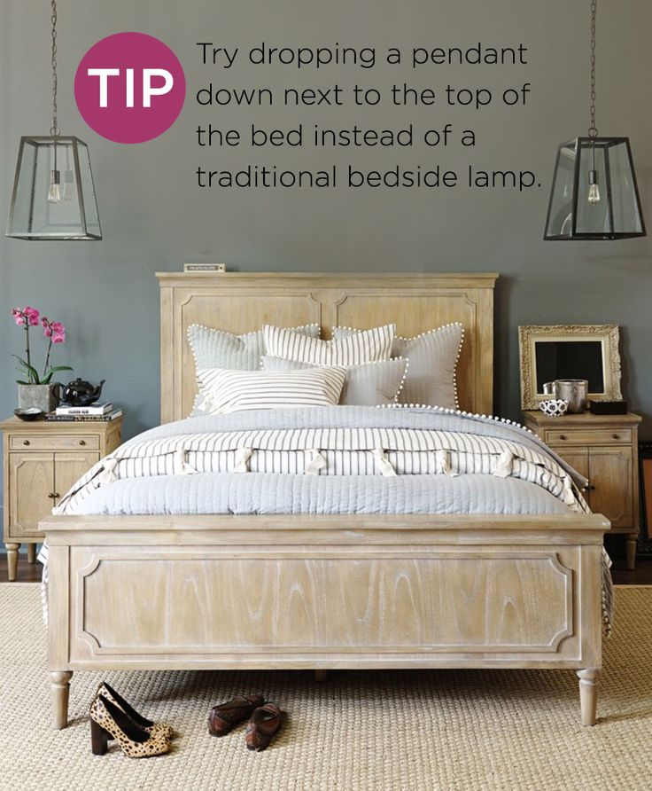 Use two pendant lights in the bedroom instead of table lamps