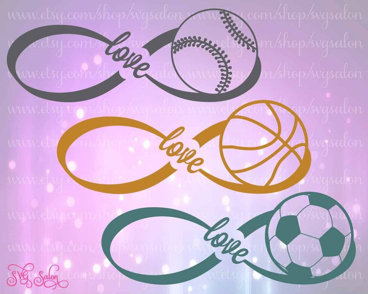 Infinity Love Sports Cutting File Set for Basketball, Baseball, and Soccer in Svg, Eps, Dxf, and Jpeg by SVGSalon on Etsy https://www.etsy.com/listing/238739986/infinity-love-sports-cutting-file-set