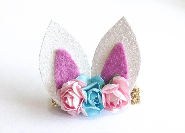 Easter bunny ears hair clip or headband / boutique ribbon hair clip / baby hair clip / girl hair clip / barrette / baby headband by soCuties on Etsy
