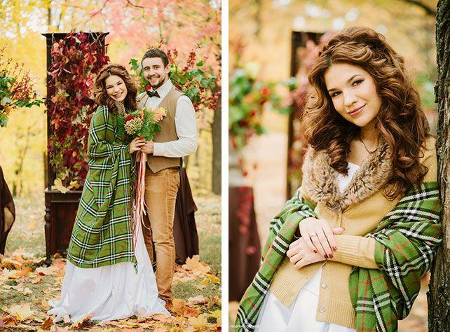 Винтажный шик, роскошная осенняя свадьба в лесу, фотосессия жениха и невесты с клетчатым пледом