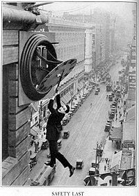 Harold Lloyd----Did his own stunts, even after having lost his thumb and forefinger a few years before. WHAT a guy!!!