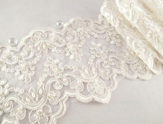 1 Yard Elegant Luxury White Wedding Lace Beaded Lace Bridal Bride's Dress Veil Lace Lace Trim 6 inches