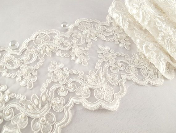 1 Yard Elegant Luxury White Wedding Lace Beaded Lace Bridal Bride's Dress Veil Lace Lace Trim 6 inches
