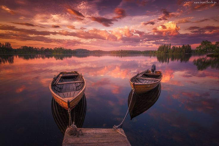 Zachód, Słońca, Jezioro, Łodzie