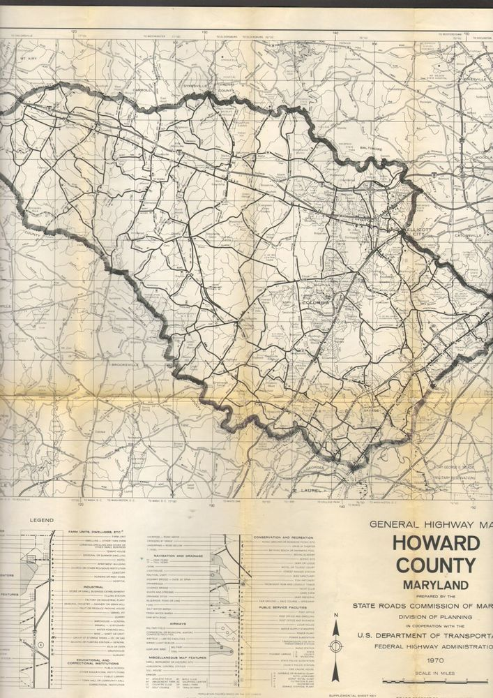 1970 General Highway Map Howard County Maryland MD State Road Commission