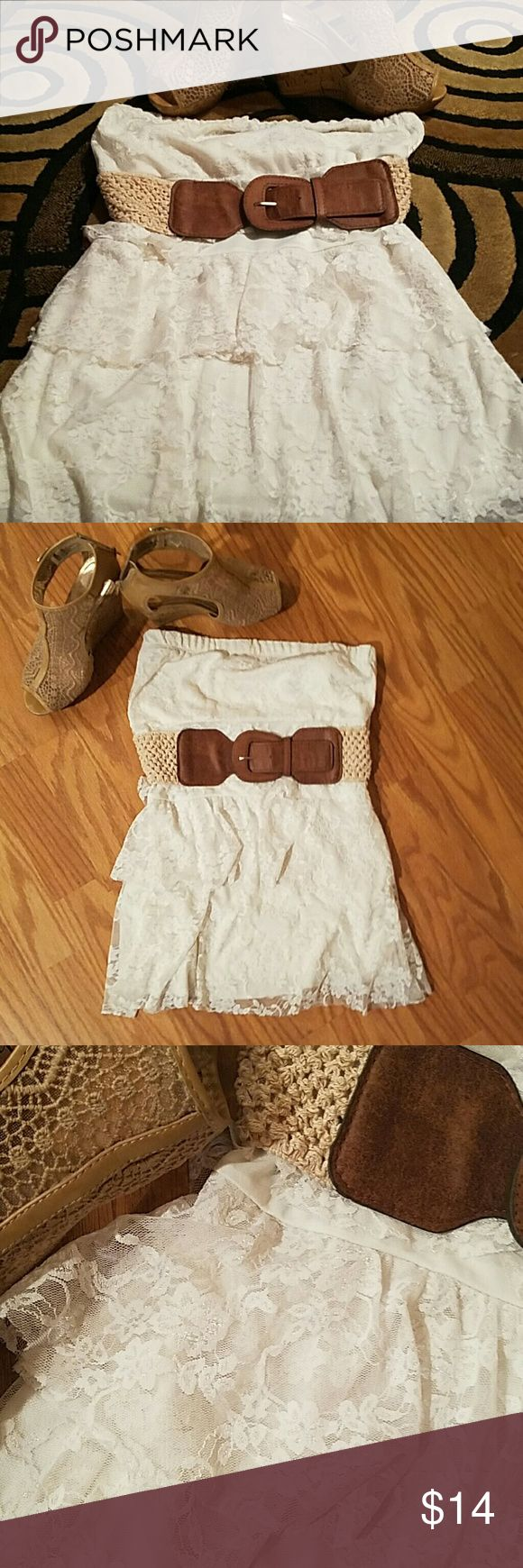 Strapless shirt Laced with belt Wet Seal Tops
