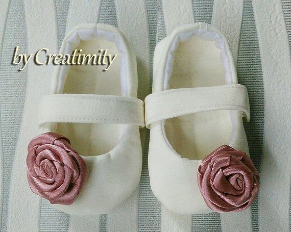 Ivory christening baby shoesdusty rosebaby by CreatimityElegance