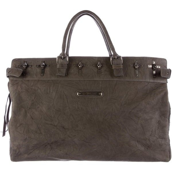 Pre-owned Thomas Wylde Skull Cross Leather Duffel ($300) ❤ liked on Polyvore featuring bags, luggage and grey