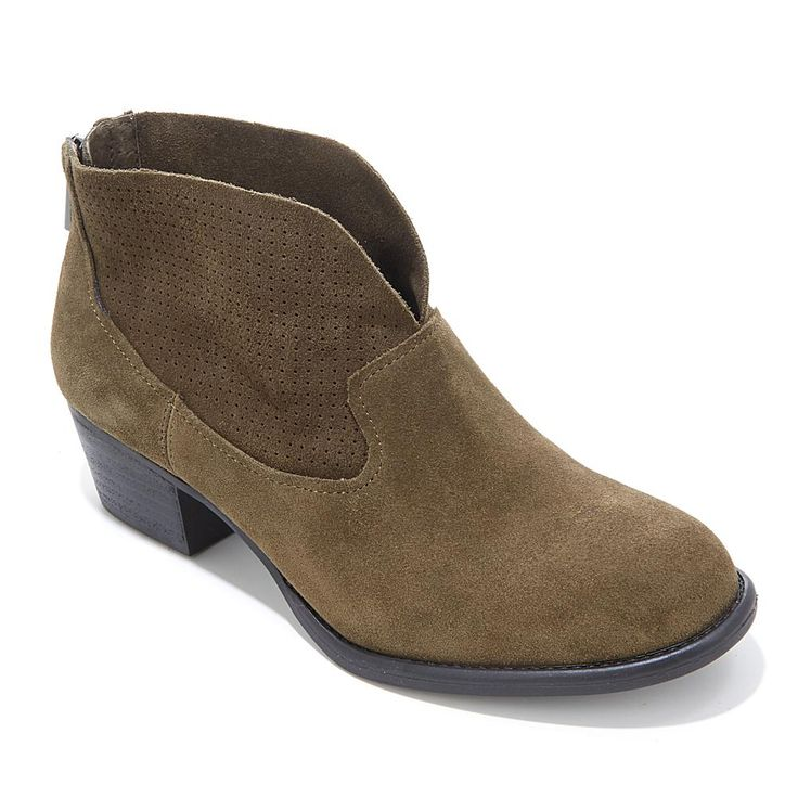 """Jessica Simpson """"Dacia"""" Suede Ankle Boot with Perforated Shaft - Green"""