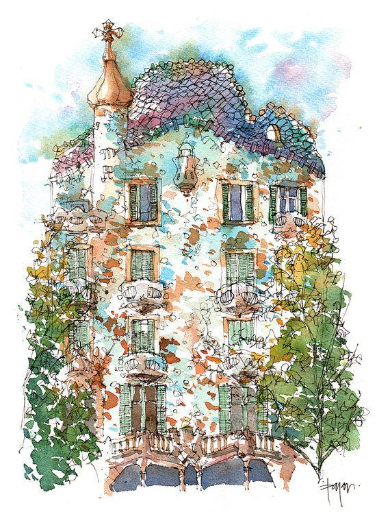 Casa Batlló ORIGINAL WATERCOLOR / Antoni por drawingBarcelona
