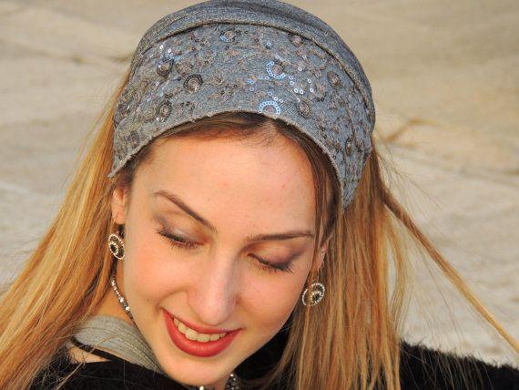 Festive Shiny Silver Headband tichel  Snood by SaraAttaliDesign https://www.etsy.com/il-en/shop/SaraAttaliDesign