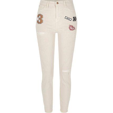 Ecru Lori high rise badge skinny jeans $40.00