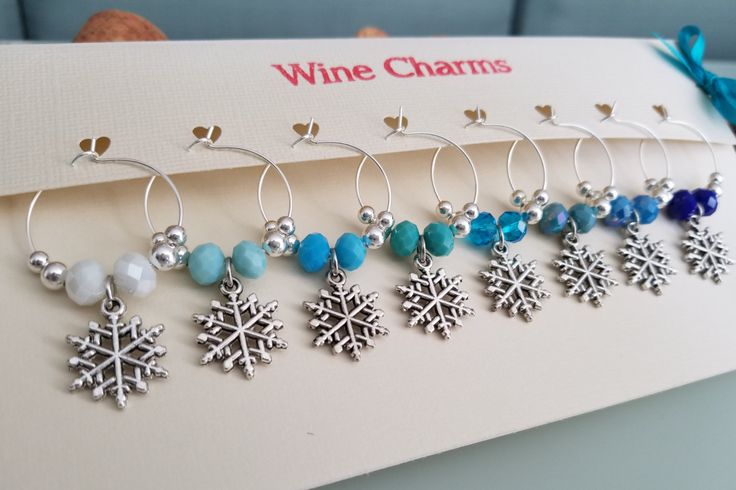 Christmas Wine Charms, Snowflake Wine Glass Charms, Winter Wine Charms, Custom Christmas Wine Charm Favors, Christmas Gift, LasmasCreations by LasmasCreations on Etsy
