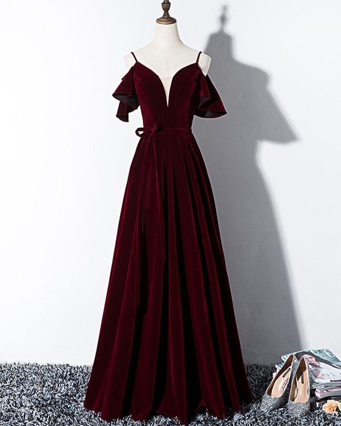 Burgunder Samt V-Ausschnitt lange Schnürung Abendkleid, Kurzarm Abendkleid