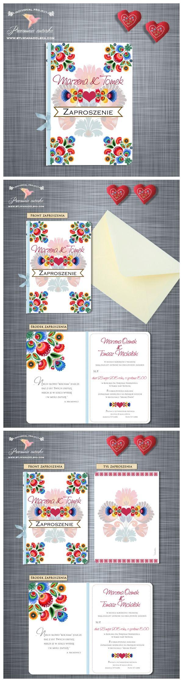 """Opis: Oryginalne zaproszenia ślubne z serii """"FOLK III"""". Drukowane na eleganckim papierze w kolorze białym. Prostokątne, otwierane na bok.   Sylwia Nadolska Papeteria Ślubna http://www.sylwianadolska.com /// #sylwianadolska #zaproszeniaslubne #zaproszenianaslub #zaproszenia #slub #wesele #wedding #folklor #folk #vintage #winietki #papeteria #dodatkislubne #zaproszenia"""