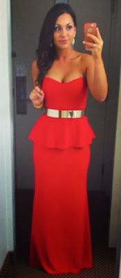 Marine Corps Ball: A 1st Timer's Guide From A 1st Timer  Red Peplum Gown. Gold Metal Belt. Military Ball.