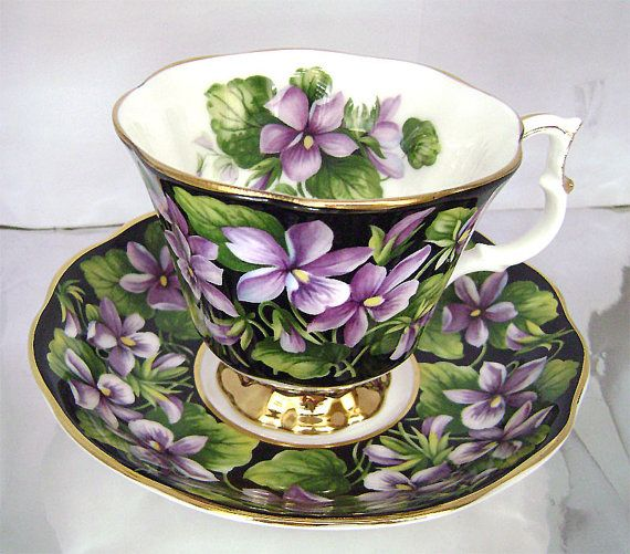 Royal Albert Bone China Purple Violet Tea Cup and by JustSparkles