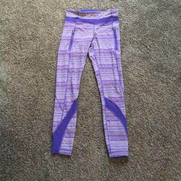 Lululemon purple leggings Purple stripped leggings, lululemon, cut out long tag because they are annoying! But Authentic lululemon lululemon athletica Pants Leggings