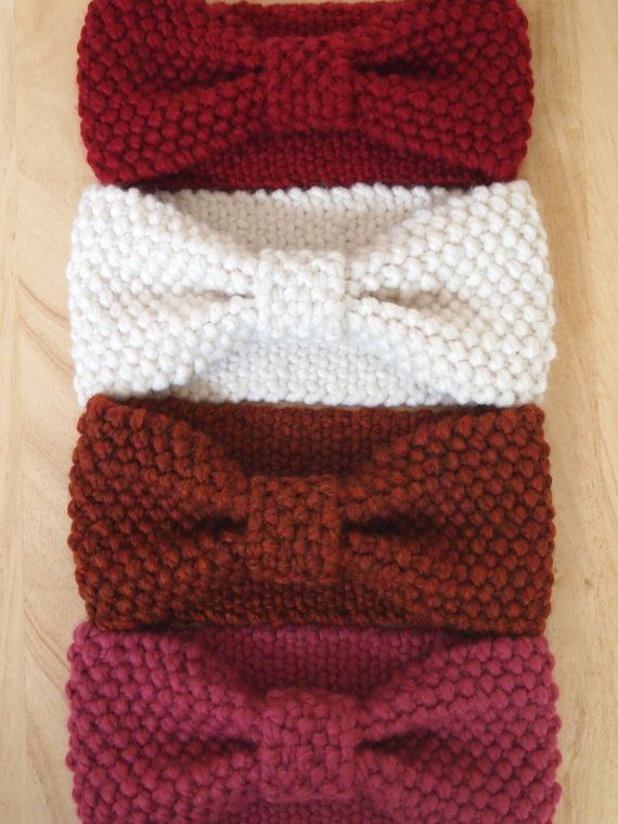 Knit Bow Headwrap Thick Headband Ear Warmer by PaisleyBraids, $29.00