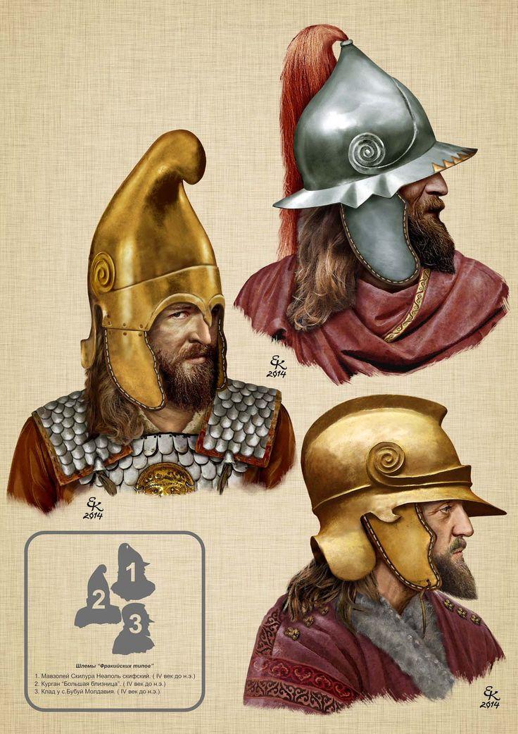 "helmets types of Thracian 1.Mavzoley Skilur Naples-Scythian 2.Kurgan ""Big Bliznitsa"" 3.Klad in s.Bubuech Moldova Balto-Slavica> What were the Scythians?"