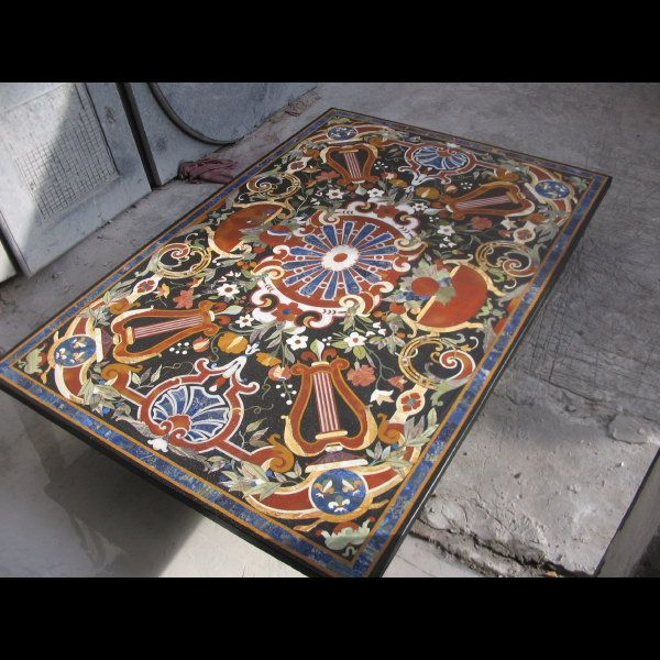 Pietre Dure Marble Inlay Table Top Size 180cm X 120cm Used Many Semi  Precious Stone Inlaid