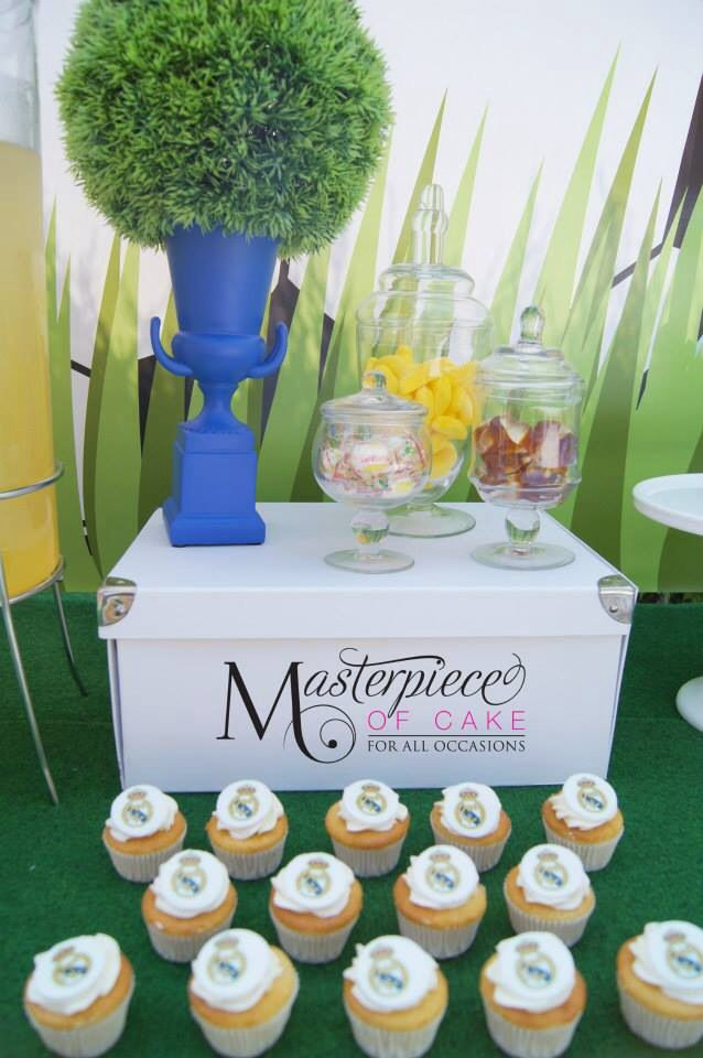 Soccer Party Sweet Table /Dessert Table/Real Madrid Cupcakes