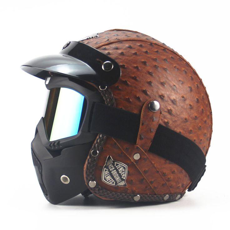 Noir Adulte En Cuir Harley Casques Pour Moto Rétro Ouvert HalfCruise Prince Moto Visage masque Amovible GogglesDOT
