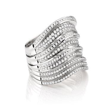 Anel de Ouro Branco com Diamantes