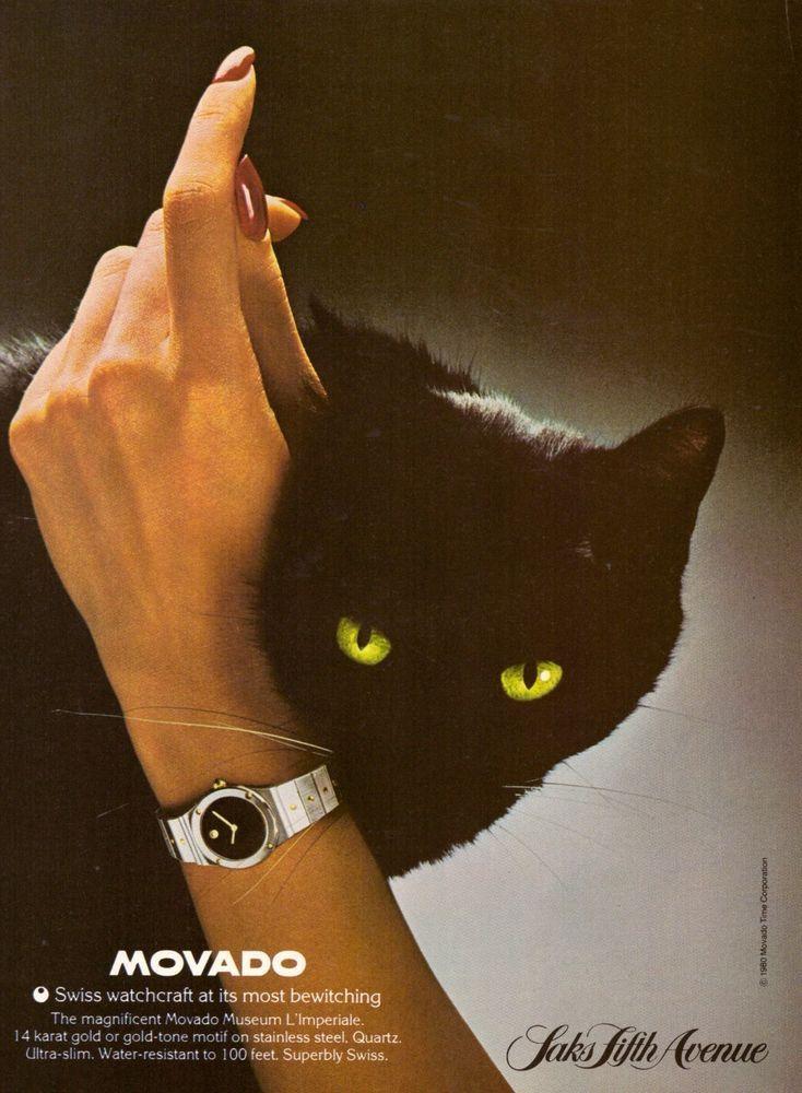 1980 Movado Watch Black Cat Saks 5th Ave Print Ad Vintage Advertisement VTG 80s | eBay