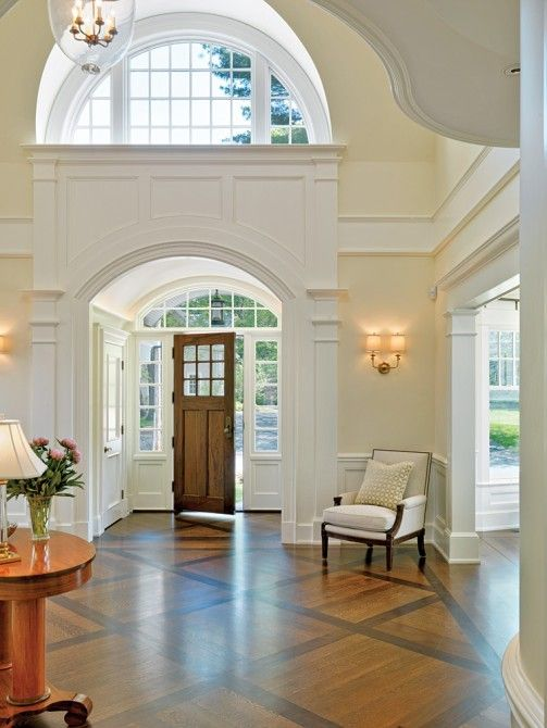 New Home Interior Design. Love the entry way ,the hard wood floor and of course the crown molding . So pretty !