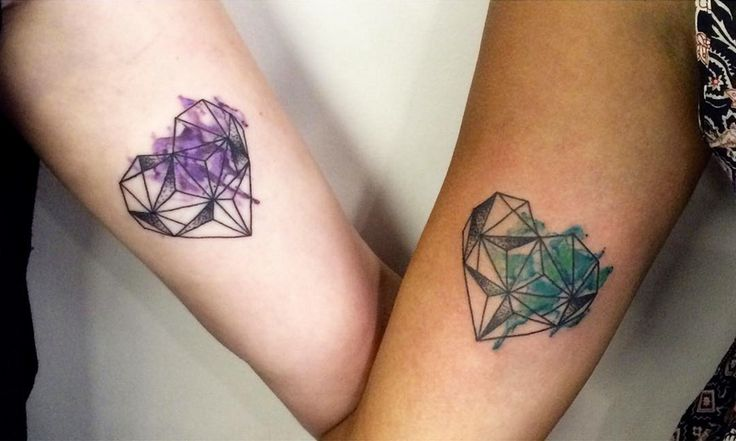 Chronic Ink Tattoo - Toronto Tattoo Geometric watercolour hearts done by Zeke.