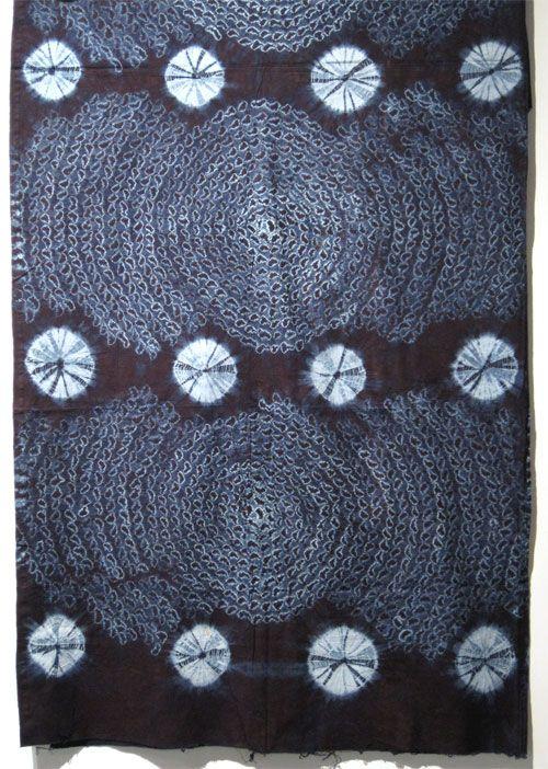 Africa | Adire oniko Indigo Tie-dye Cotton Fabric from the Yoruba people of South-west Nigeria | Cotton fabric tie-dyed with natural indigo