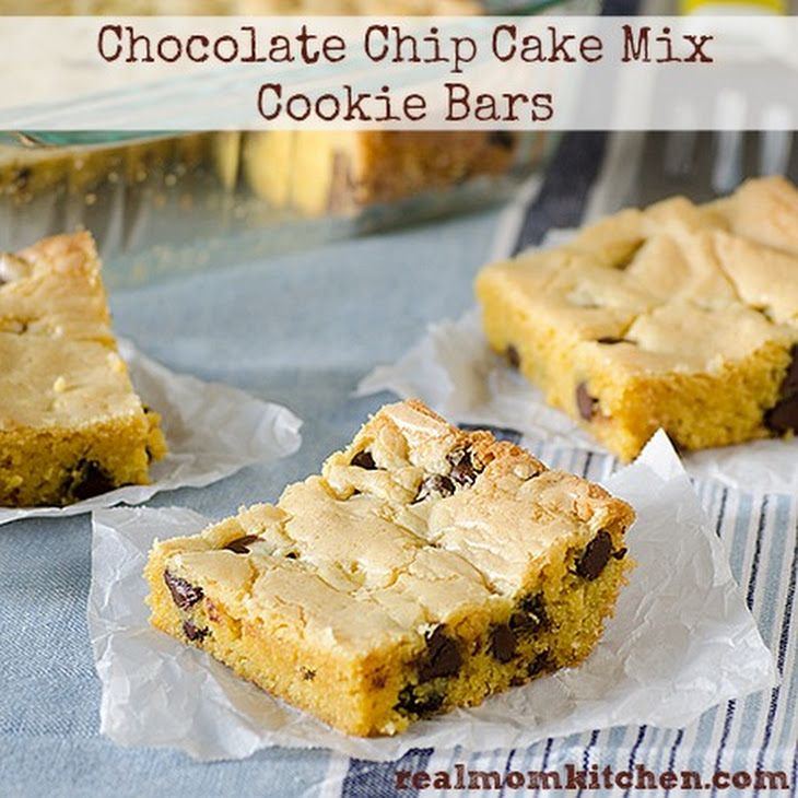 Chocolate Chip Cake Mix Cookie Bars Recipe Desserts with yellow cake mix, vanilla instant pudding, water, vegetable oil, eggs, chocolate chips