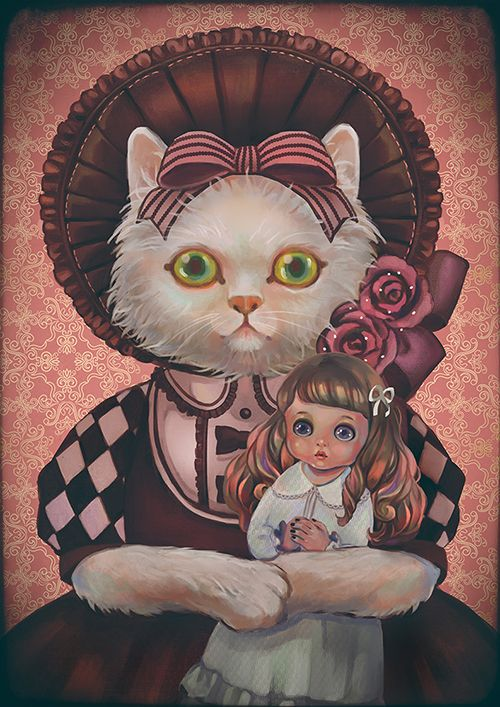 Cat and doll by Rin54321