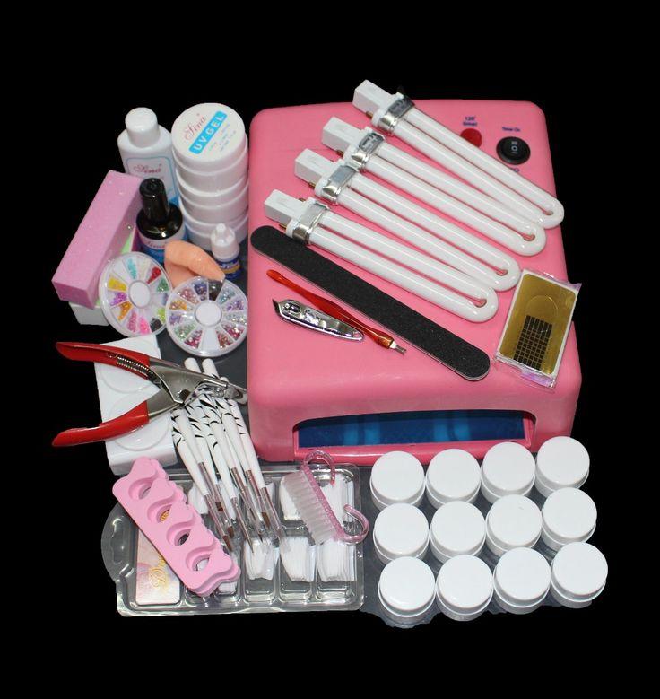 Strumento Nail Art Completa 12 Colori Gel UV Kit Spazzola del chiodo Essiccatore Del Chiodo Art Set + 36 W Che Cura Lampada UV Kit Dryer Curining Tools Set per nail