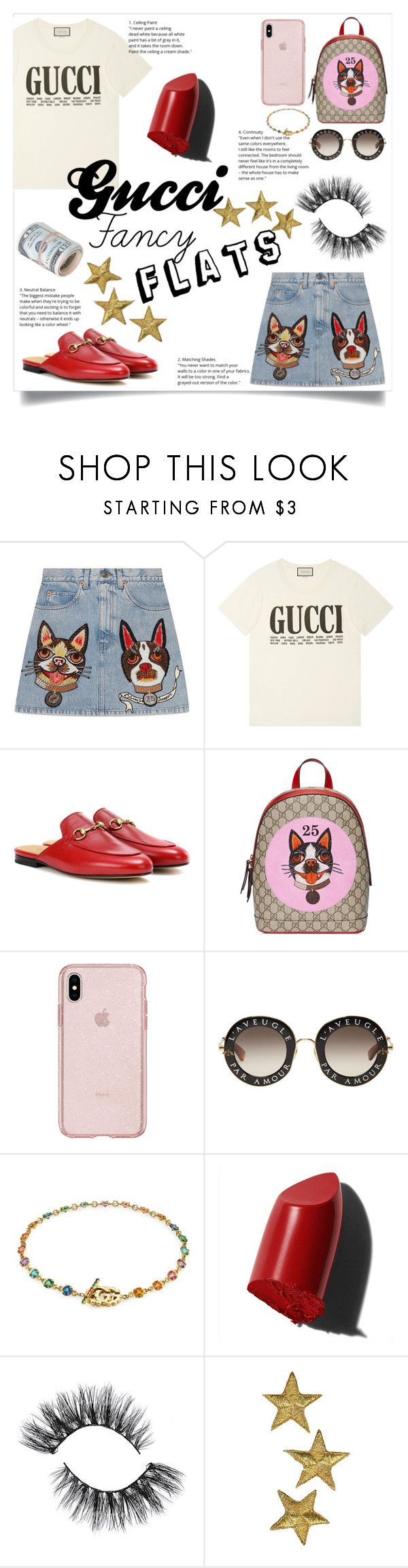 """""""Gucci flats (Con)"""" by kassmv ❤ liked on Polyvore featuring Gucci, Bobbi Brown Cosmetics and chicflats"""
