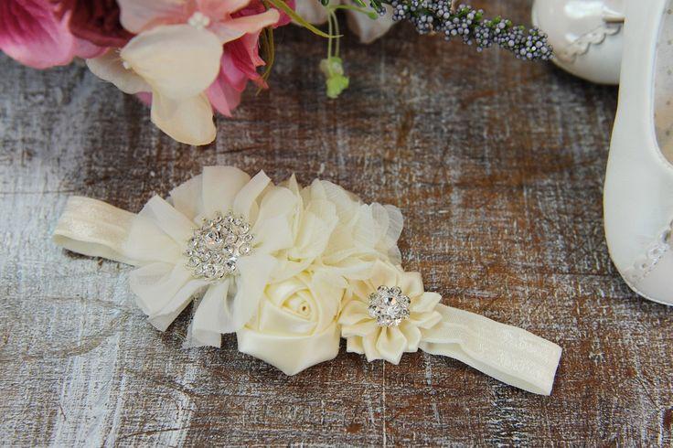 Opaska ecru 4 kwiatki - Ubranka na chrzest - Abrakadabra Sklep