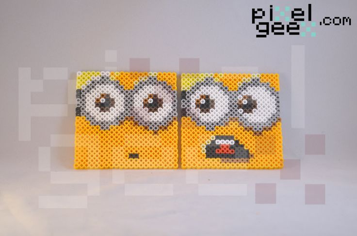 Despicable Me Minions perler bead coasters by Pixel Geex