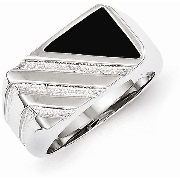 Sterling Silver Men\'s Onyx Ring ($52) ❤ liked on Polyvore featuring men's fashion, men's jewelry, men's rings, mens watches jewelry, mens sterling silver rings, mens onyx ring, mens sterling silver black onyx rings and mens rings