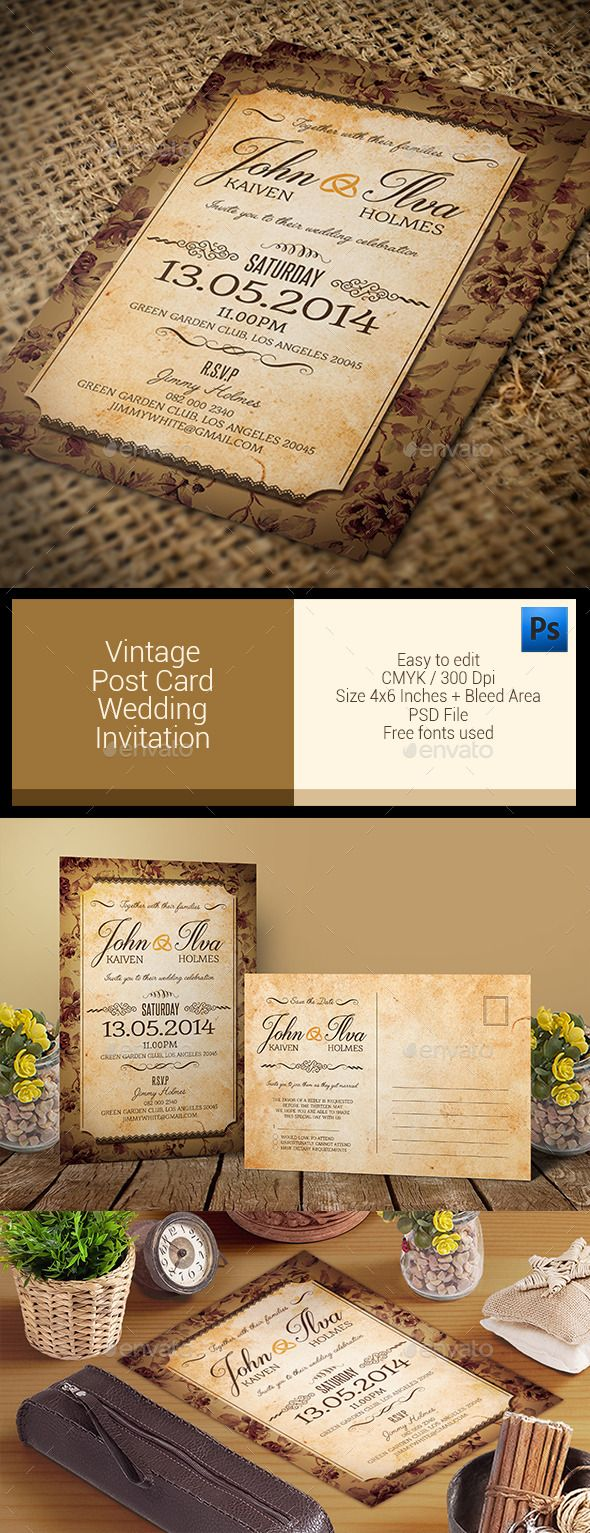 templates for wedding card design%0A Vintage Post Card  Wedding Invitation Template