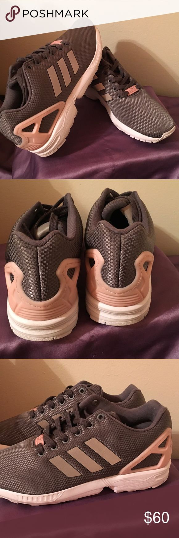 Like new Adidas Zx Flux sneakers Gray and pink Adidas ZX Flux sneakers. Comfy and cute, barely worn. adidas Shoes Sneakers