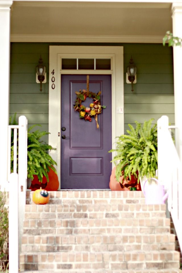 Sage Green Siding w/ White Trim & Plum Front Door