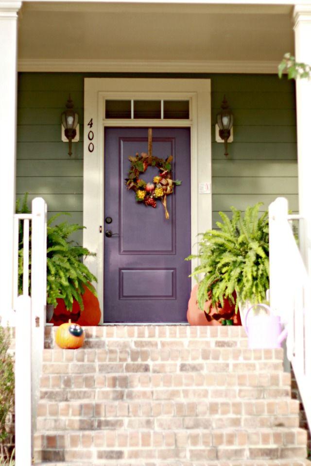 Sage Green Siding w/ White Trim & Plum Front Door | House ...