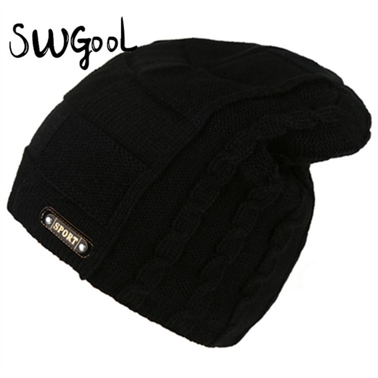 [SWGOOL] Knitted hat 2016 new fashion winter cap for men skiing keep warm protecting hats Solid color caps SPORT sign head cap