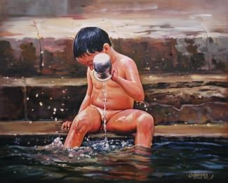 Buy paintings - a beautiful child bathing , Photography in Atgom Arts