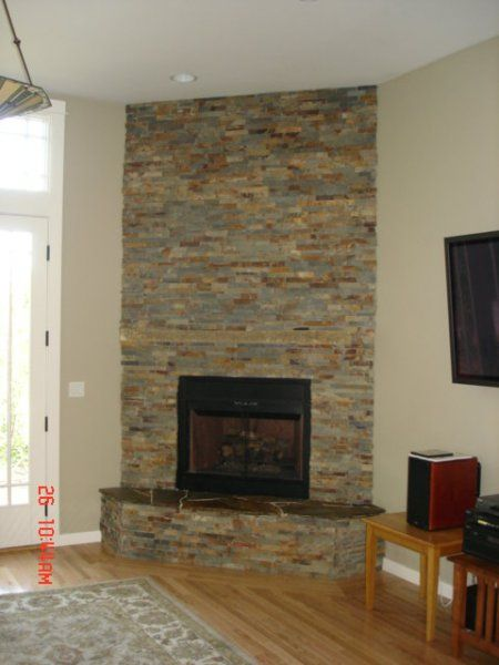 Stacked Stone Fireplace Surround J Walsh Construction Custom Tile And Stone Custom Tile