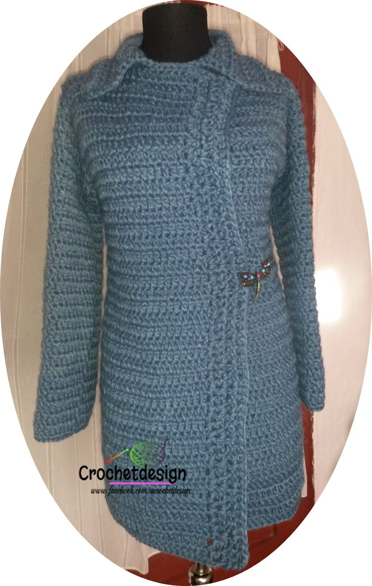 Crocheted blue cardigan