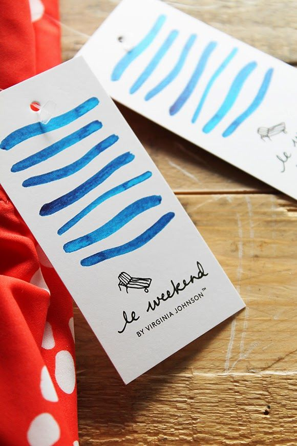 le weekend by Virginia Johnson branding and clothing tags