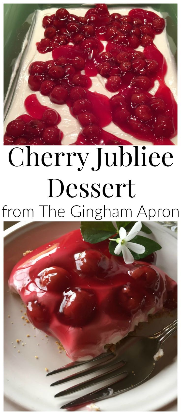 Cherry Jubilee Dessert- a scrumptious, easy to make dessert that your family will love. Tastes like cheesecake, but easier to make! #holiday #thanksgiving #christmas