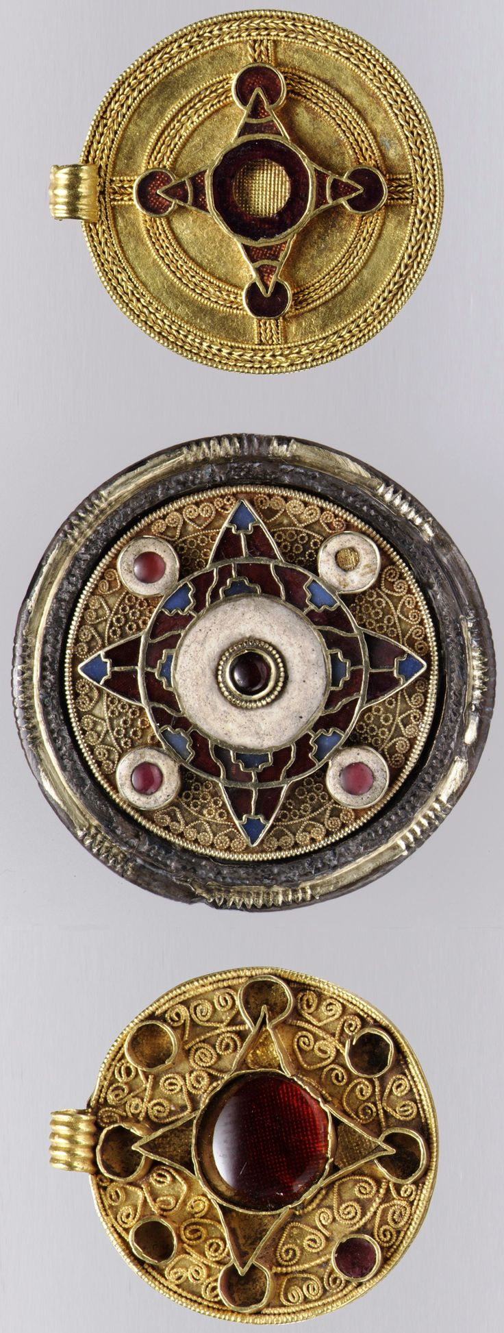 Three Anglo-Saxon pendants, gold & garnet inlay, early 7th century